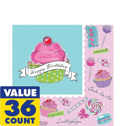 Pastel Birthday Sweets Lunch Napkins, 36-pk