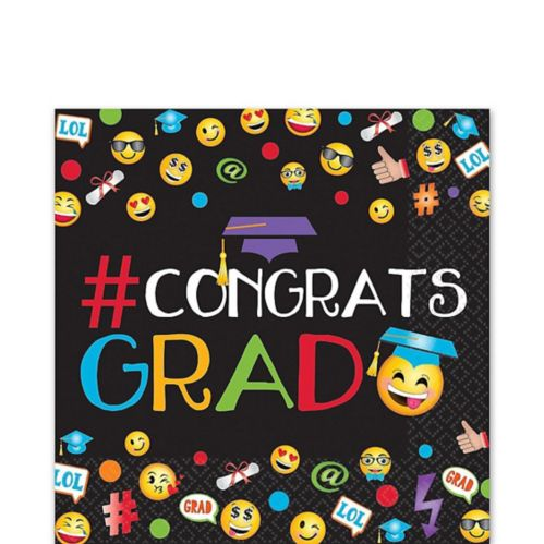 Smiley Graduation Lunch Napkins, 125-pk