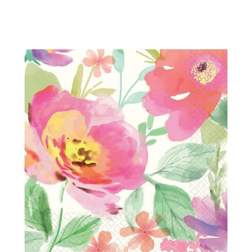 Watercolour Floral Lunch Napkins, 36-pk