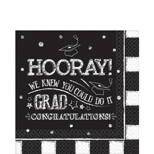 Chalk Hooray Graduation Lunch Napkins, 36-pk