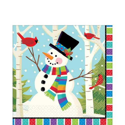 Colourful Smiling Snowman Lunch Napkins, 125-pk