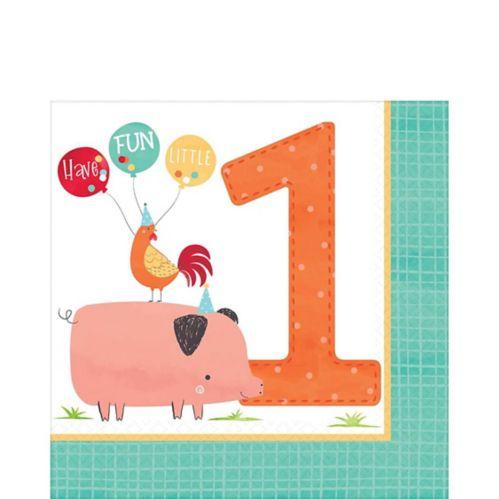 Serviettes de table Ferme amicale 1er anniversaire, paq. 36 Image de l'article