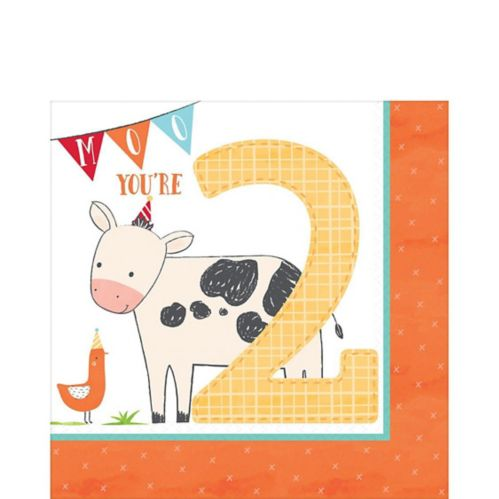 Friendly Farm 2nd Birthday Lunch Napkins, 36-pk