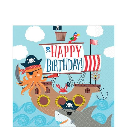 Pirate Shark Lunch Napkins, 36-pk