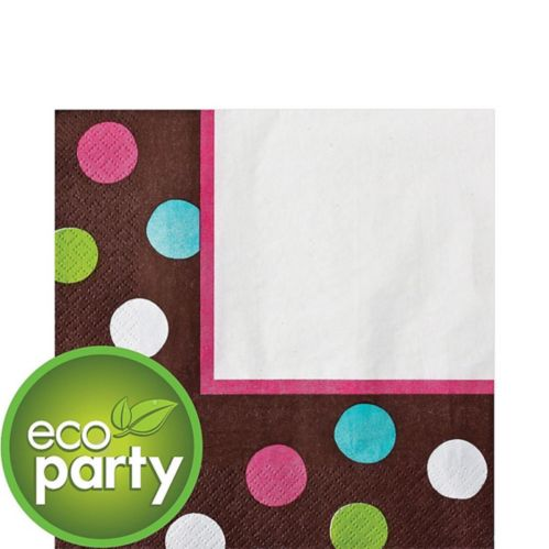 Chocolate Dots Polka Dot Lunch Napkins, 36-pk