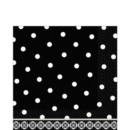Black and White Damask Lunch Napkins, 36-pk