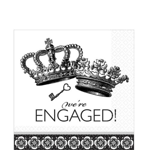 Black and White Damask We're Engaged Lunch Napkins, 36-pk