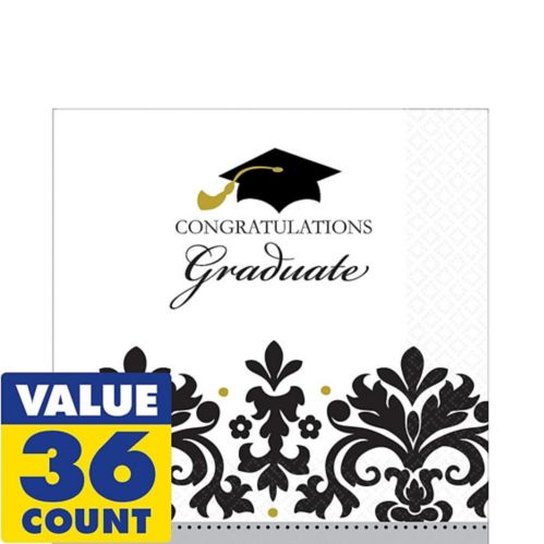 Black and White Grad Lunch Napkins, 36-pk