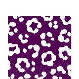 Serviettes de table à imprimé guépard, prune, paq. 36