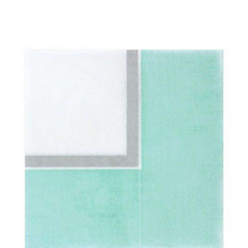 Serviettes de table à bordure turquoise, paq. 36