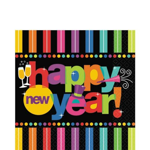 Serviettes de table pour le Nouvel An, couleurs vives, paq. 125 Image de l'article