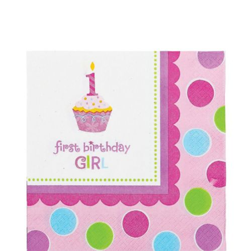 First Birthday Girl Lunch Napkins, 36-pk