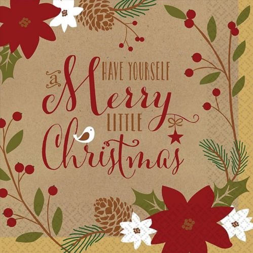 Merry Little Christmas Kraft Dinner Napkins, 36-pk