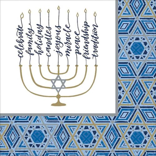 Festival of Lights Hanukkah Dinner Napkins, 36-pk