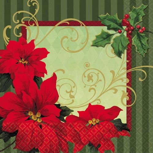 Vintage Poinsettia Dinner Napkins, 36-pk