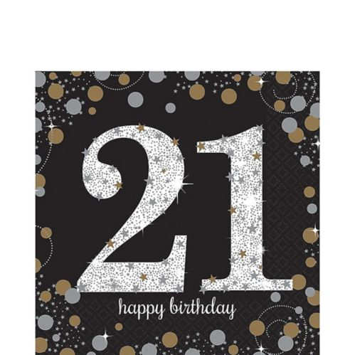 Serviettes de table scintillantes 21e anniversaire, paq. 16