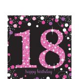 Serviettes de table scintillantes 18e anniversaire, rose, paq. 16
