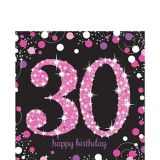 Serviettes de table scintillantes 30e anniversaire, rose, paq. 16