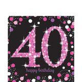Serviettes de table scintillantes 40e anniversaire, rose, paq. 16