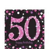 Pink Sparkling Celebration 50th Birthday Lunch Napkins, 16-pk
