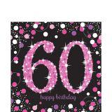Pink Sparkling Celebration 60th Birthday Lunch Napkins, 16-pk