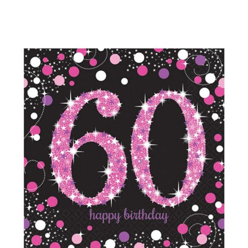 Pink Sparkling Celebration 60th Birthday Lunch Napkins, 16-pk Product image