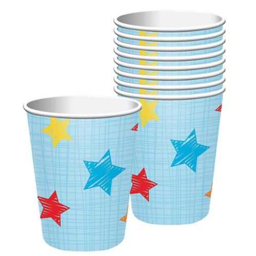 One is Fun Star Paper Cups, Blue, 8-pk