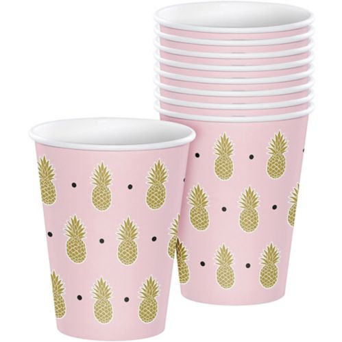 Metallic Gold Pineapple Cups, 8-pk