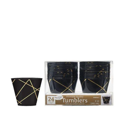 Line Premium Plastic Cups, Black/Metallic Gold,24-pk Product image