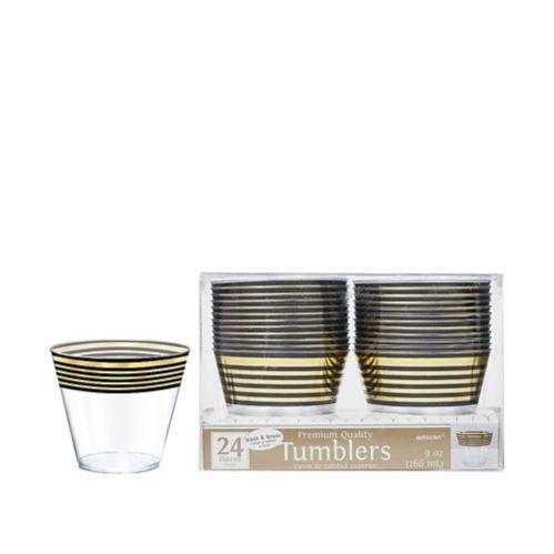 Stripe Premium Plastic Cups, Black/Metallic Gold, 24-pk