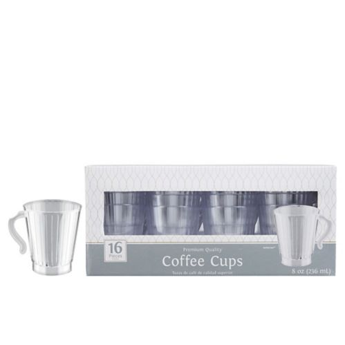 Clear Premium Plastic Coffee Mugs, 16-pk