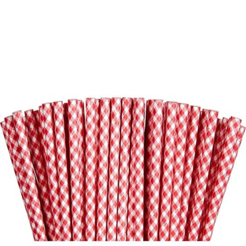 Red Gingham Paper Straws, 80-pk