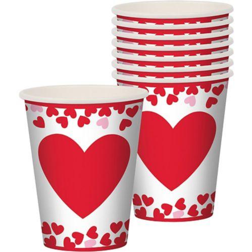 Gobelets, cœurs et confettis de la Saint-Valentin, paq. 8