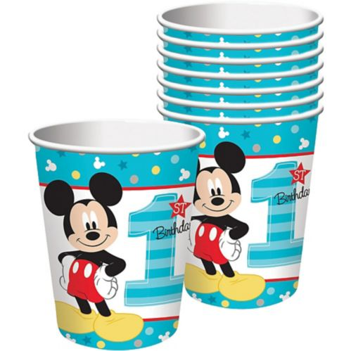 1st Birthday Mickey Mouse Cups, 8-pk