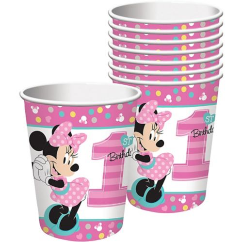 1st Birthday Minnie Mouse Cups, 8-pk