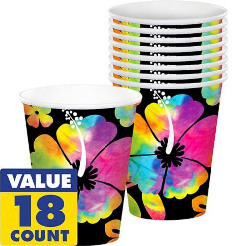Hibiscus Paper Cups, Neon, 18-pk