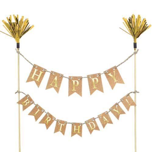 Banderole à fanions décoration de gâteau Happy Birthday or Image de l'article