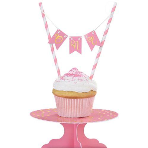 Mini Pink 1st Birthday Cake Stand Kit, 2-pc