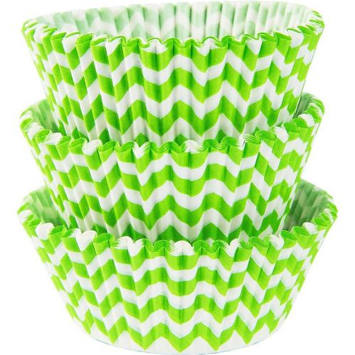 Kiwi Green Chevron Baking Cups, 75-pk
