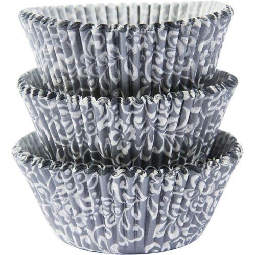 Silver & White Scroll Baking Cups, 75-pk