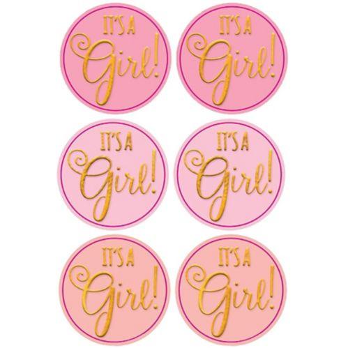 Sceaux autocollants transparents Fête prénatale It's A Girl, rose, paq. 25 Image de l'article