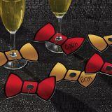 Étiquettes de verre nœud papillon, or et rouge, paq. 18