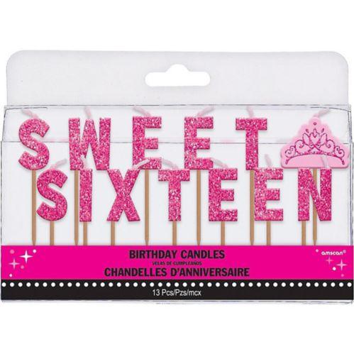 Bougies à cure-dents Seizième anniversaire roses scintillantes, 13pièces