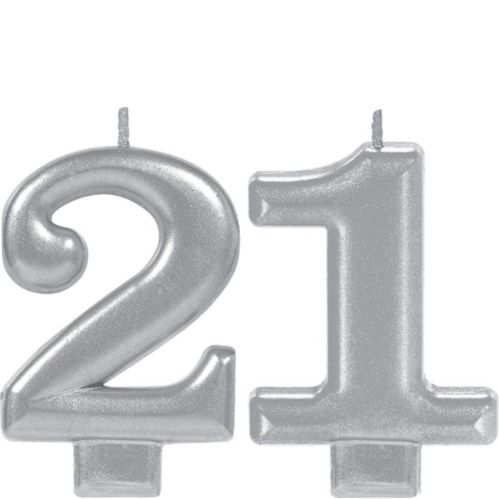 Silver 21 Birthday Candles, 2-pc