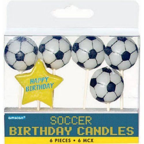 Bougies d'anniversaire de soccer, paq. 6