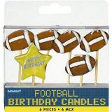 Bougies d'anniversaire de football sur cure-dents, paq. 6