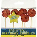 Basketball Birthday Toothpick Candles, 6-pk