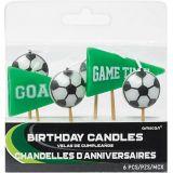 Bougies d'anniversaire ballon de soccer Vise mieux vertes, paq. 6