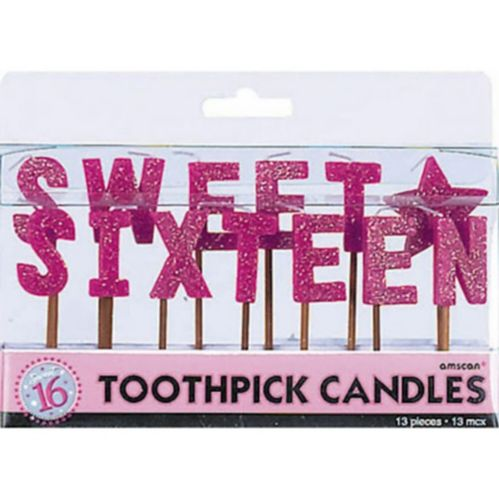 Sweet 16 Sparkle Mini Pick Candles