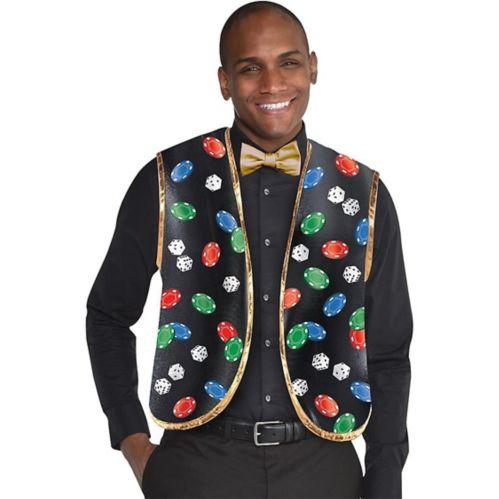 Roll the Dice Casino Dealer Vest & Bow Tie Set, 2-pc